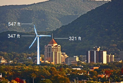 Roanoke Wells Fargo Tower with Turbine